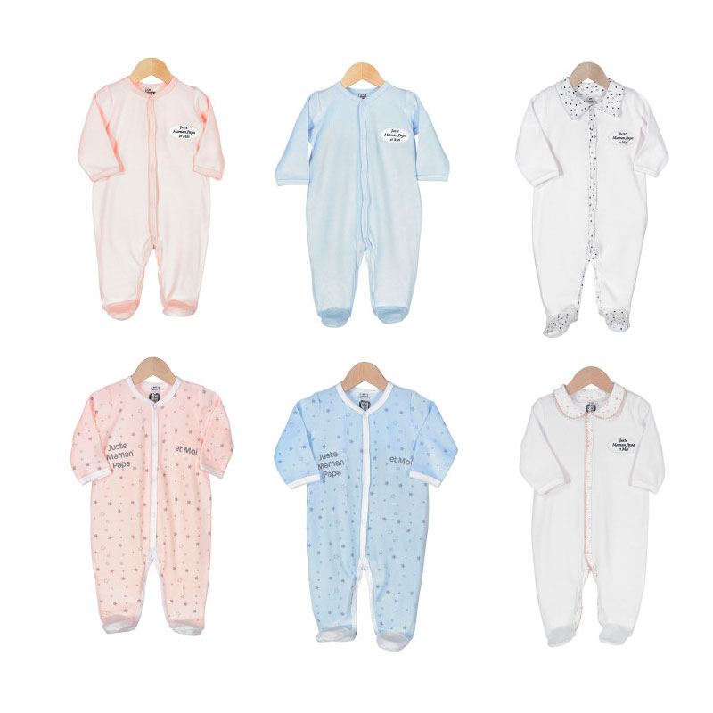 Pyjama x6 0-1M Papa et Maman Manche Longue Novatex Body