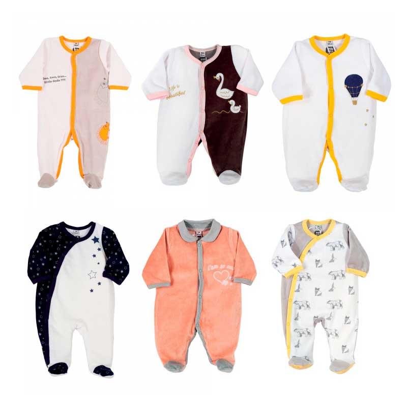 Pyjama x6 00-0-1-3-6M Le Voyage Enchanté Velour Manche Longue Novatex Body