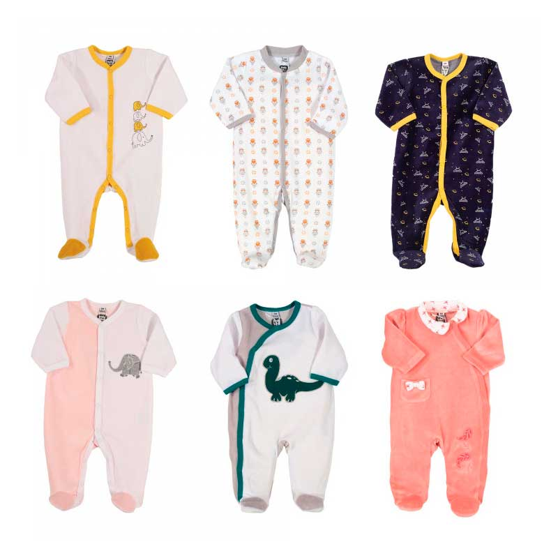 Pyjama x6 00-0-1-3-6M Mes Animaux Velour Manche Longue Novatex Body