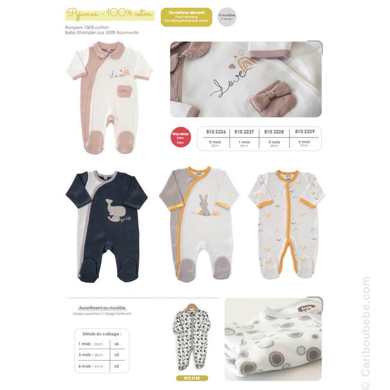 Pyjama Y Coton Manche Longue 0-1-3-6M Novatex