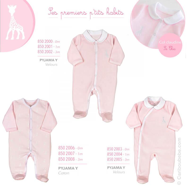 Pyjama Y Coton ou Velours Manche Longue Sophie La Girafe Fille 0/1/3M Novatex