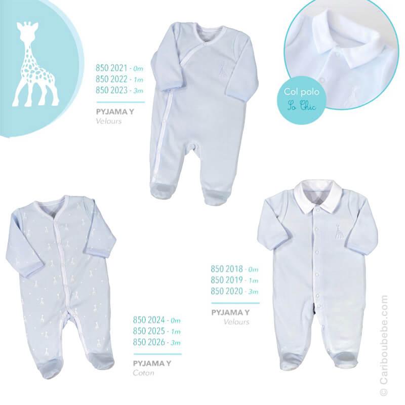 Pyjama Y Coton ou Velours Manche Longue Sophie La Girafe Garçon 0/1/3M Novatex