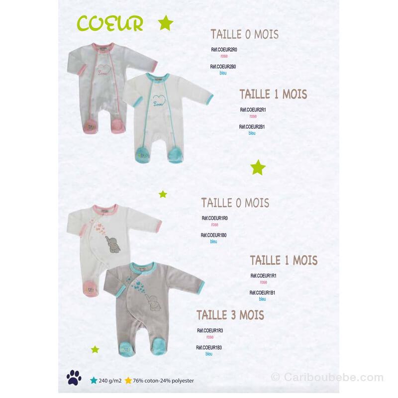 Pyjama Cœur Rose/Bleu 0-1-3M Manche Longue Les Chatounets