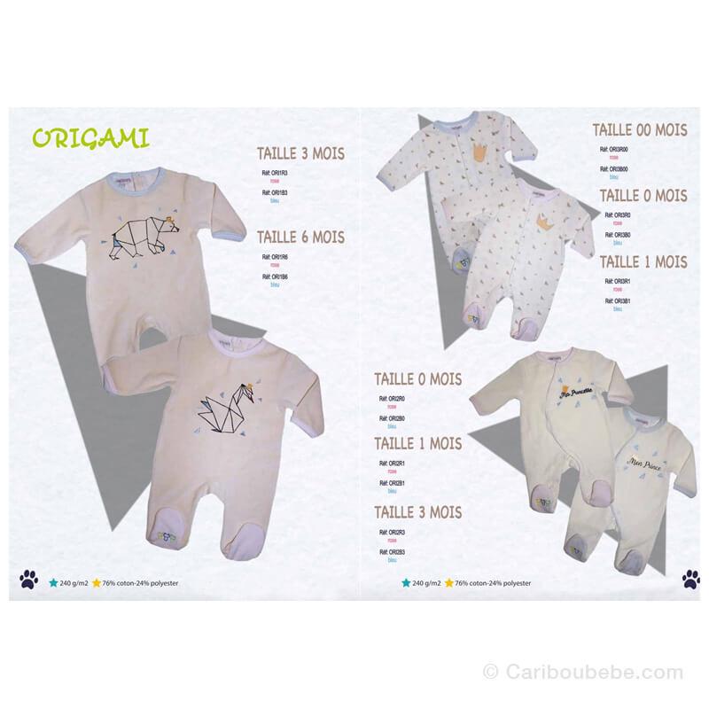 Pyjama Origami Bleu/Rose 00-0-1-3-6M Manche Longue Les Chatounets