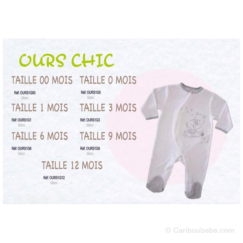Pyjama Ours Chic 00-0-1-3-6-9-12M Manche Longue Les Chatounets