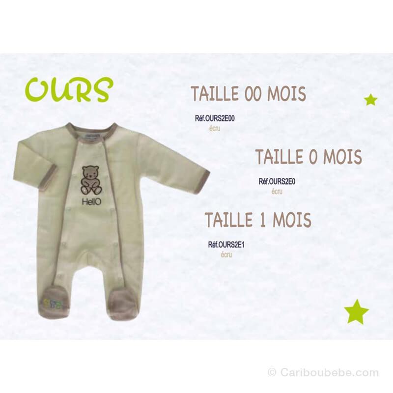 Pyjama Ours Écru 00-0-1M Manche Longue Les Chatounets