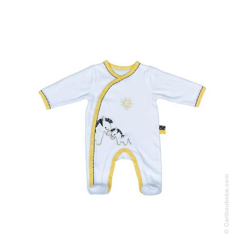 Pyjama-Dors-Bien-Zèbre en Velours Pluche et Pompon 1M ML Sauthon Baby Déco