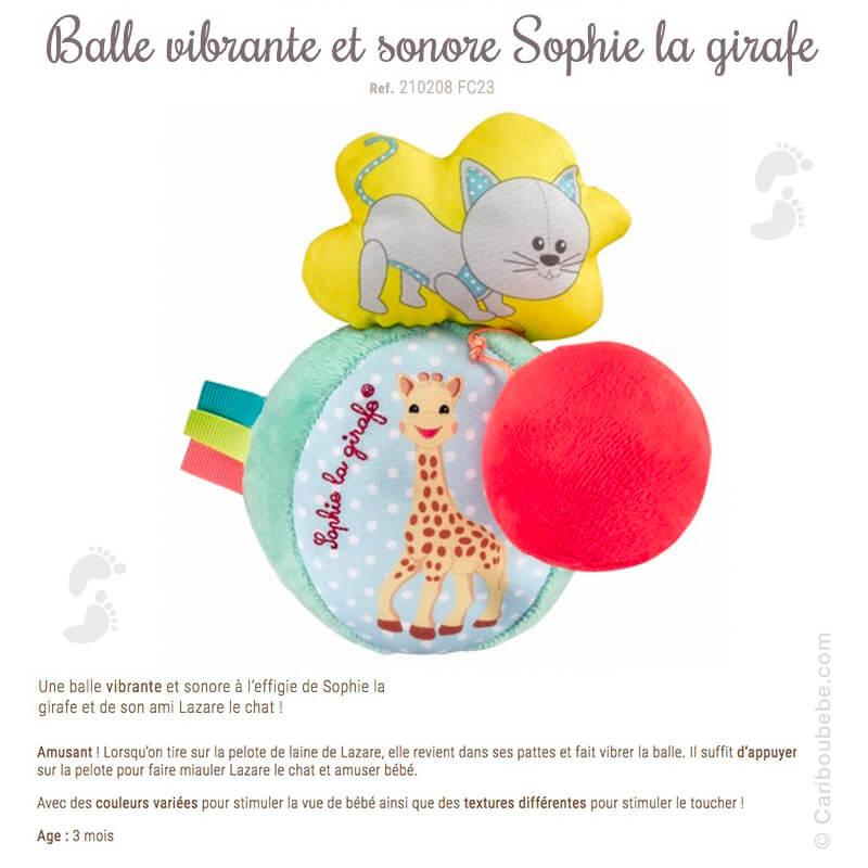 Balle Vibrante et Sonore +3M Sophie La Girafe