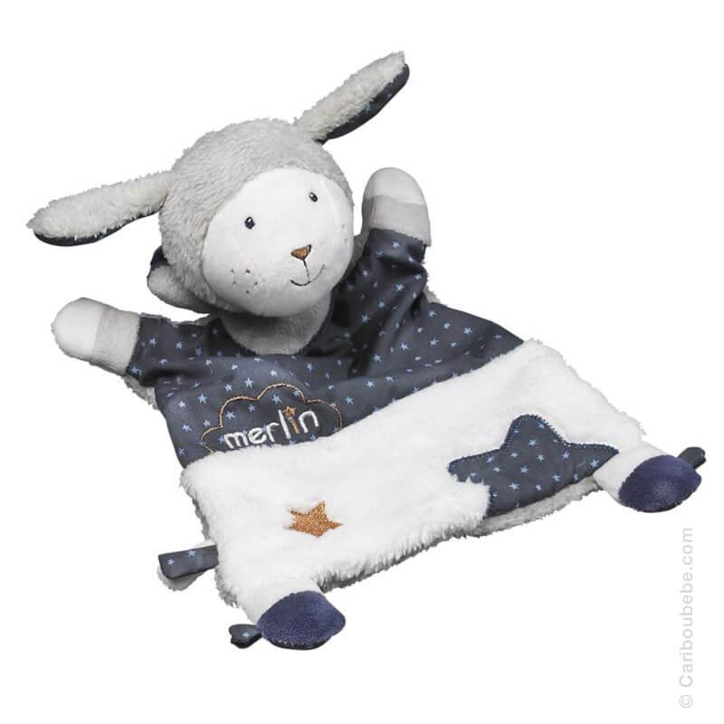Doudou Mouchoir 19x30cm Merlin Sauthon Baby Déco
