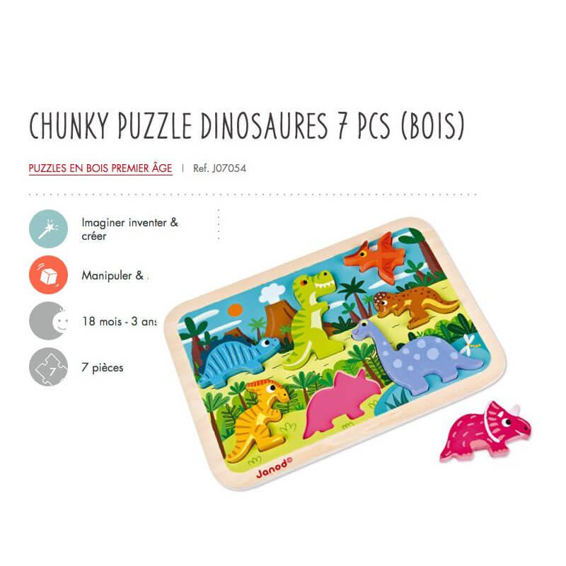 Puzzle Cruncky Dinosaures 7Pcs en Bois 18M-3A Janod