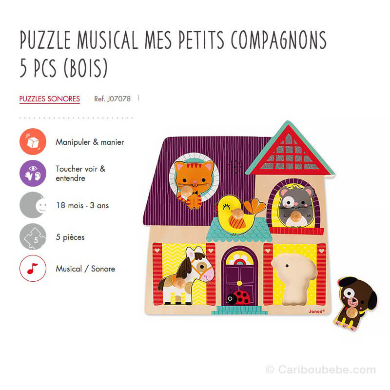 Puzzle Musical Mes Petits Compagnons 5Pcs en Bois 18M Janod