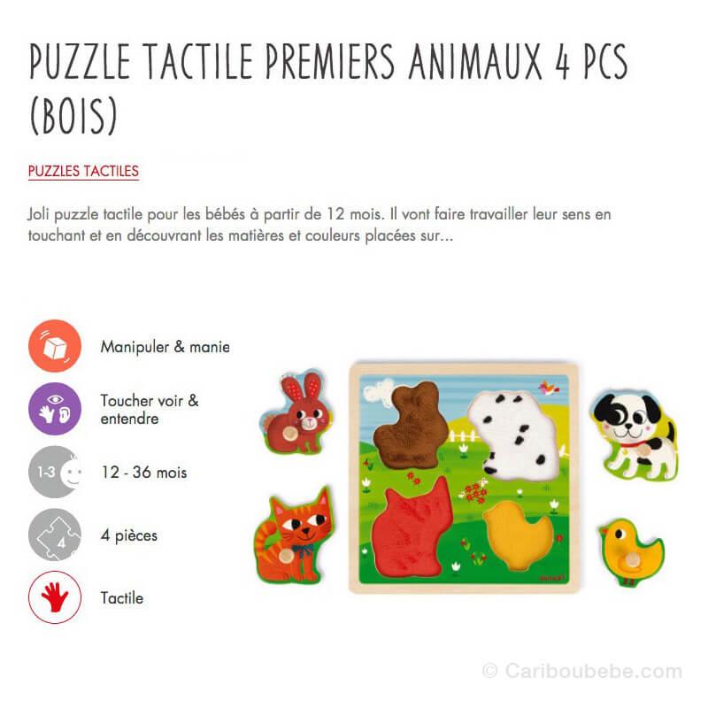 Puzzle Tactile Premiers Animaux 4Pcs en Bois 12M Janod