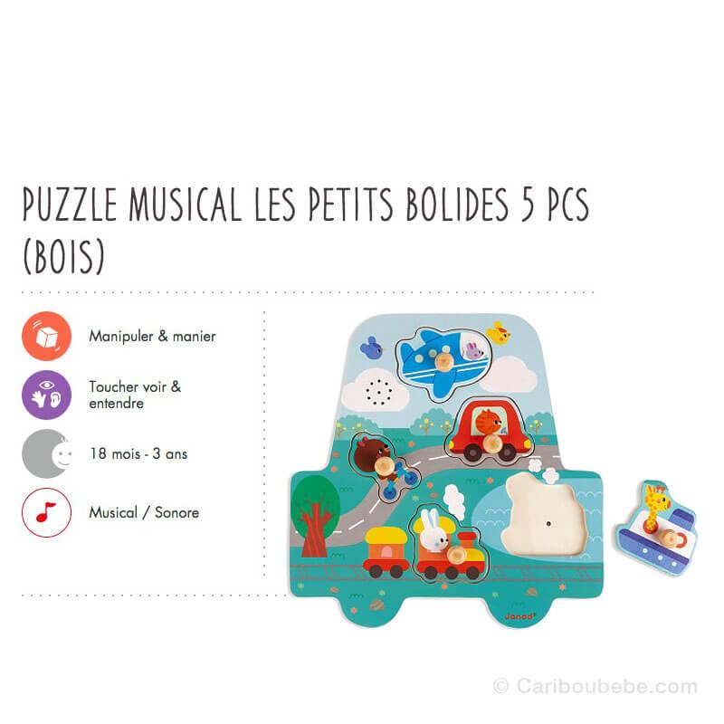 Puzzle Musical Les Petits Bolides 5Pcs en Bois 18M Janod