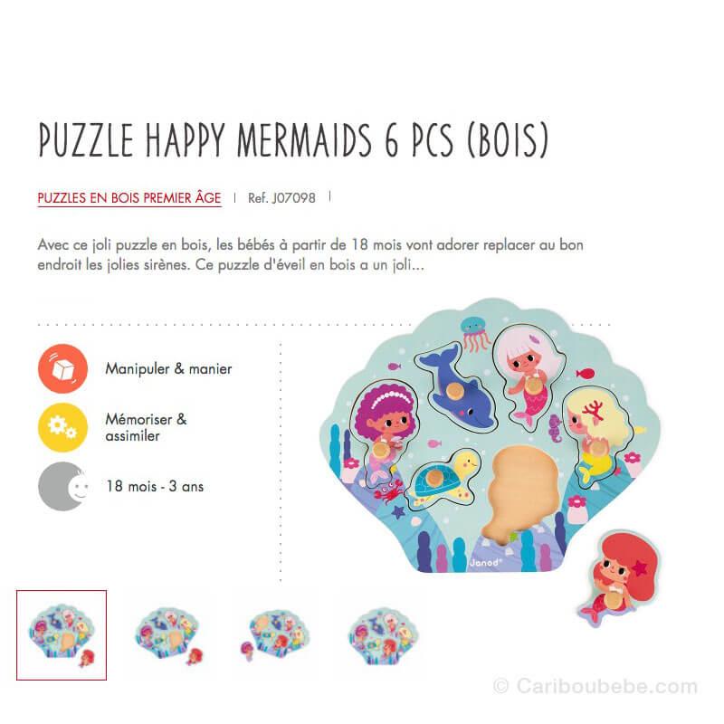Puzzle Happy Mermaids 6Pcs en Bois 18M-3A Janod