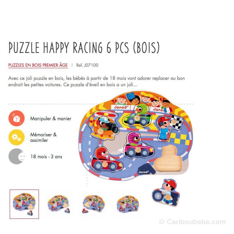 Puzzle Happy Racing 6Pcs en Bois 18M-3A Janod