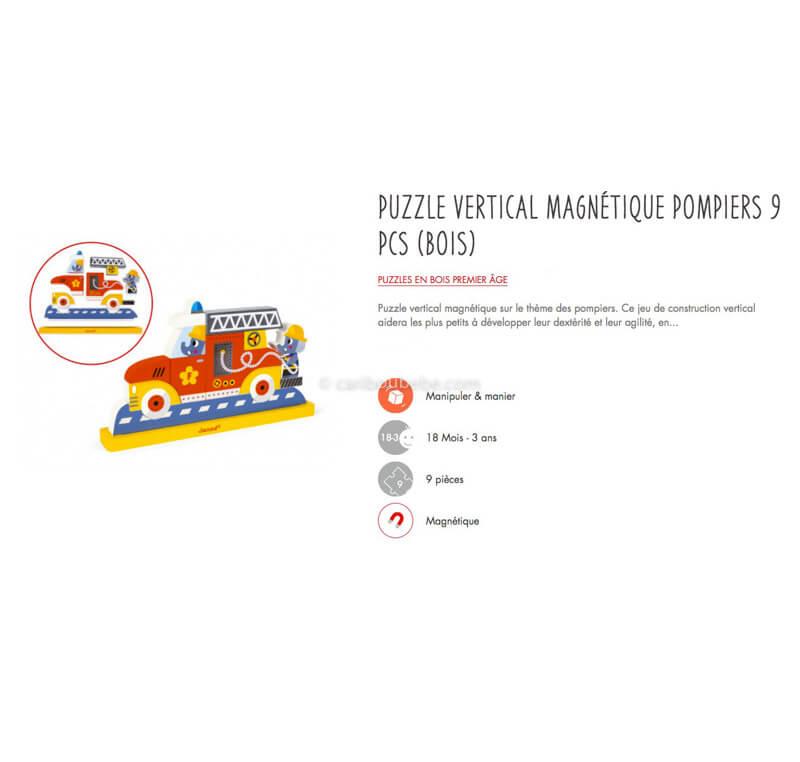 Puzzle Vertical Magnétique Pompiers 9Pcs en Bois 18M Janod