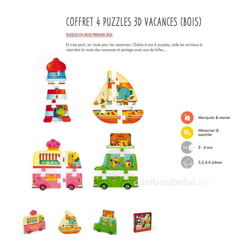 Coffret 4 Puzzles 3D Vacances en Bois 2-4A Janod