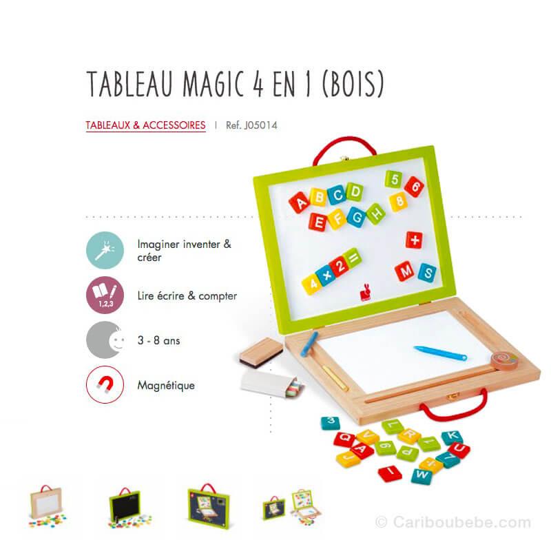 Tableau Magic 4 en 1 en Bois 3-8A Janod