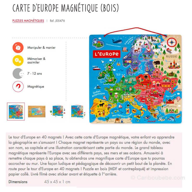 Carte Europe Magnétique 40Pcs en Bois 7-12A Hape