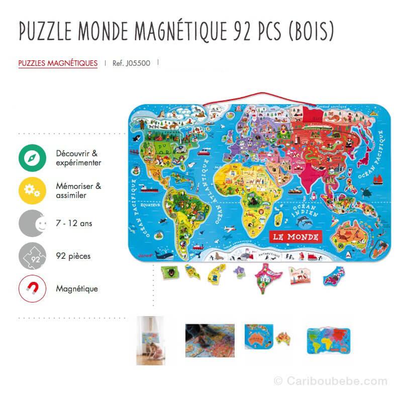 Puzzle Monde Magnétique 92 Pcs en Bois 7-12A Hape