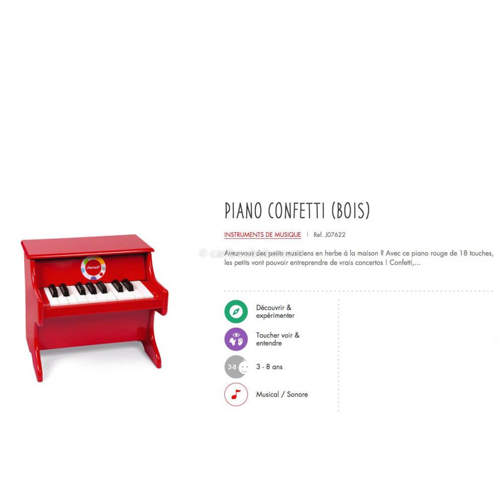 Piano Rouge Confetti en Bois 3-8A Janod