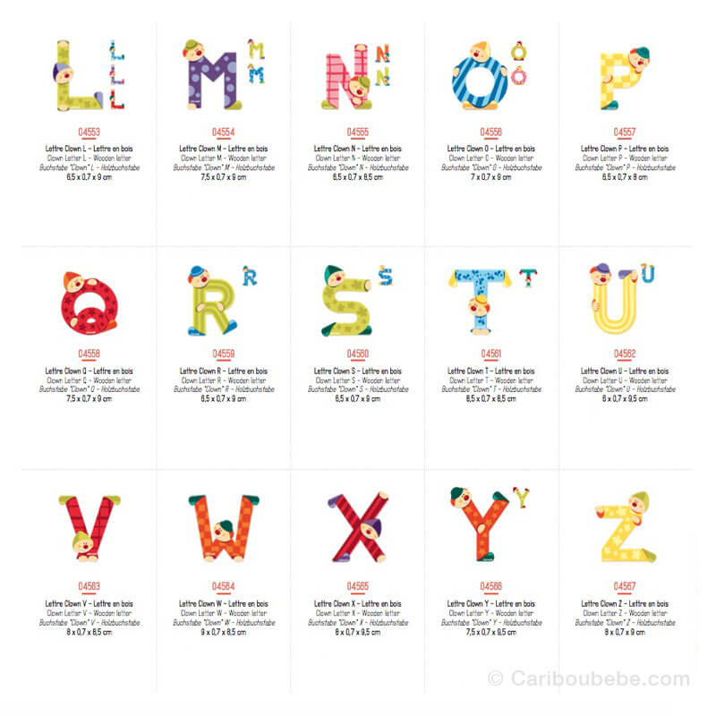 Lettres Clown L à Z 3-6A Janod
