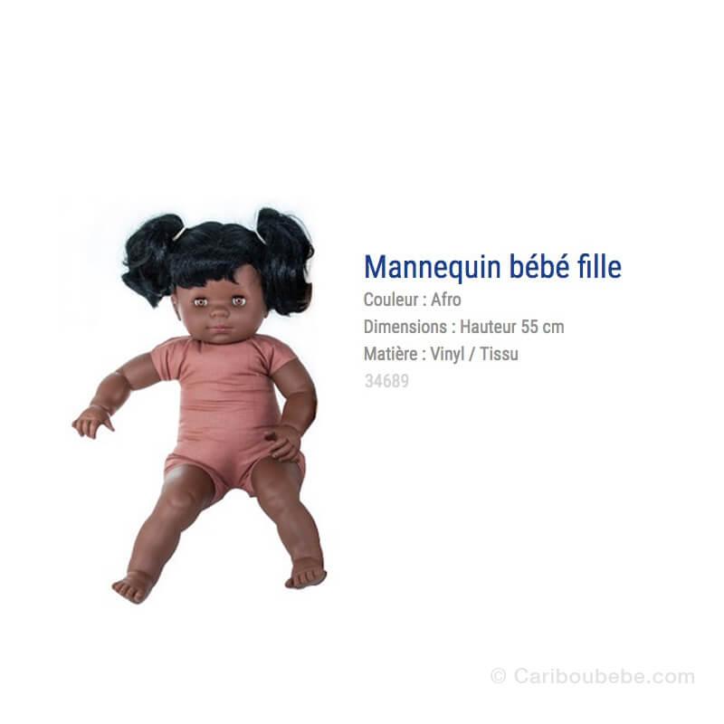 Mannequin Bébé Fille Afro Avec Cheveux 55cm Rouxel