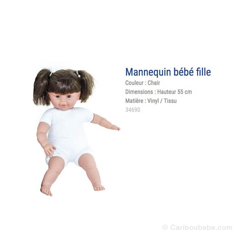 Mannequin Bébé Fille Blanc Avec Cheveux 55cm Rouxel