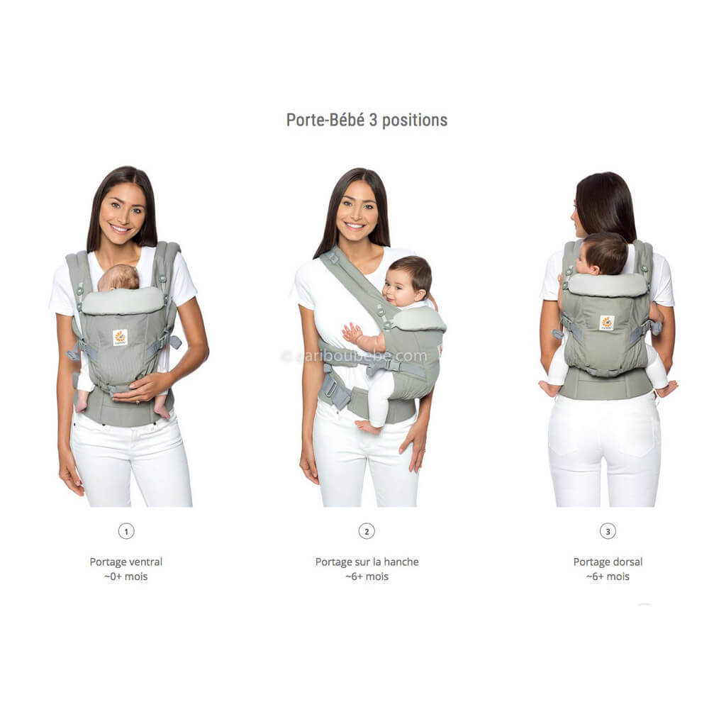 Porte-bébé Adapt Cool Air Mesh Gris chiné2 Ergobaby