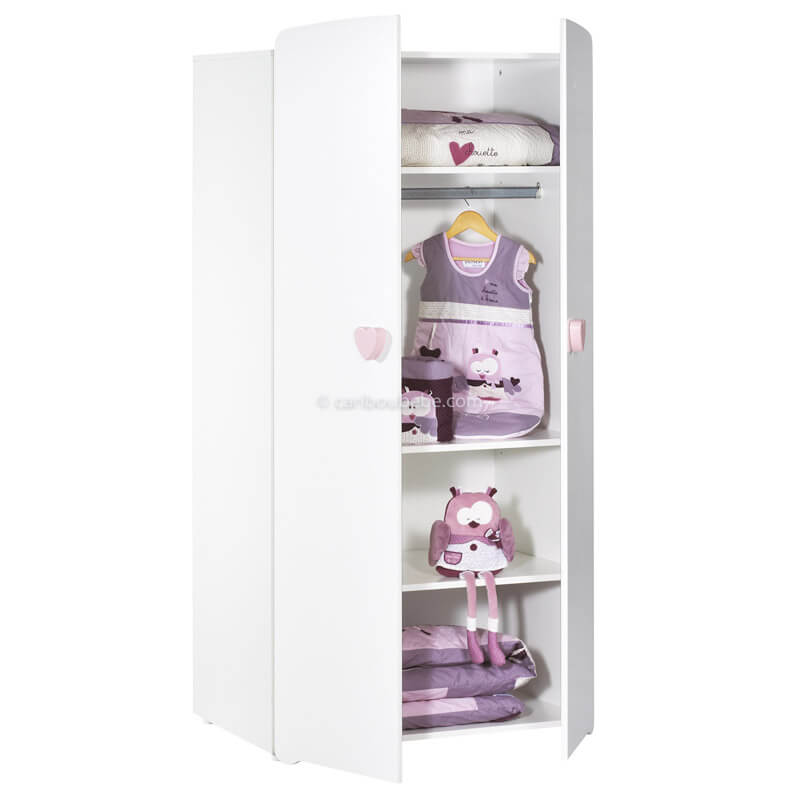 Armoire Bouton Cœur Rose 2 Portes New Basic Sauthon Baby Price