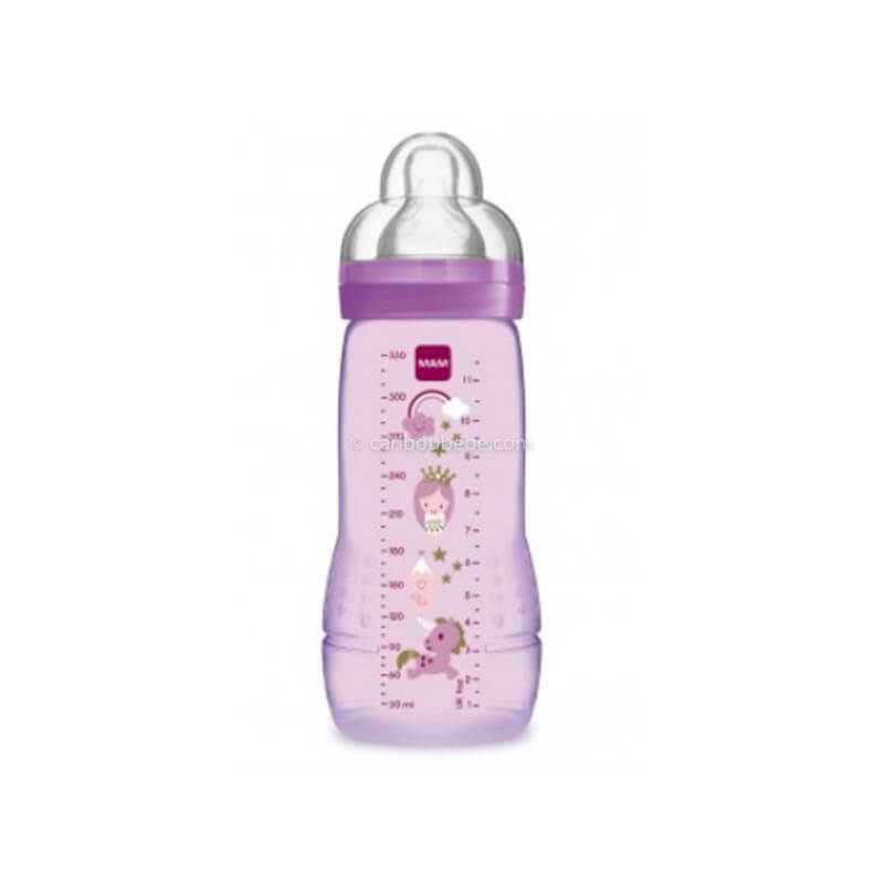 Biberon Easy Active 2ème Age Coloré 330ml Rose Fille Mam Baby