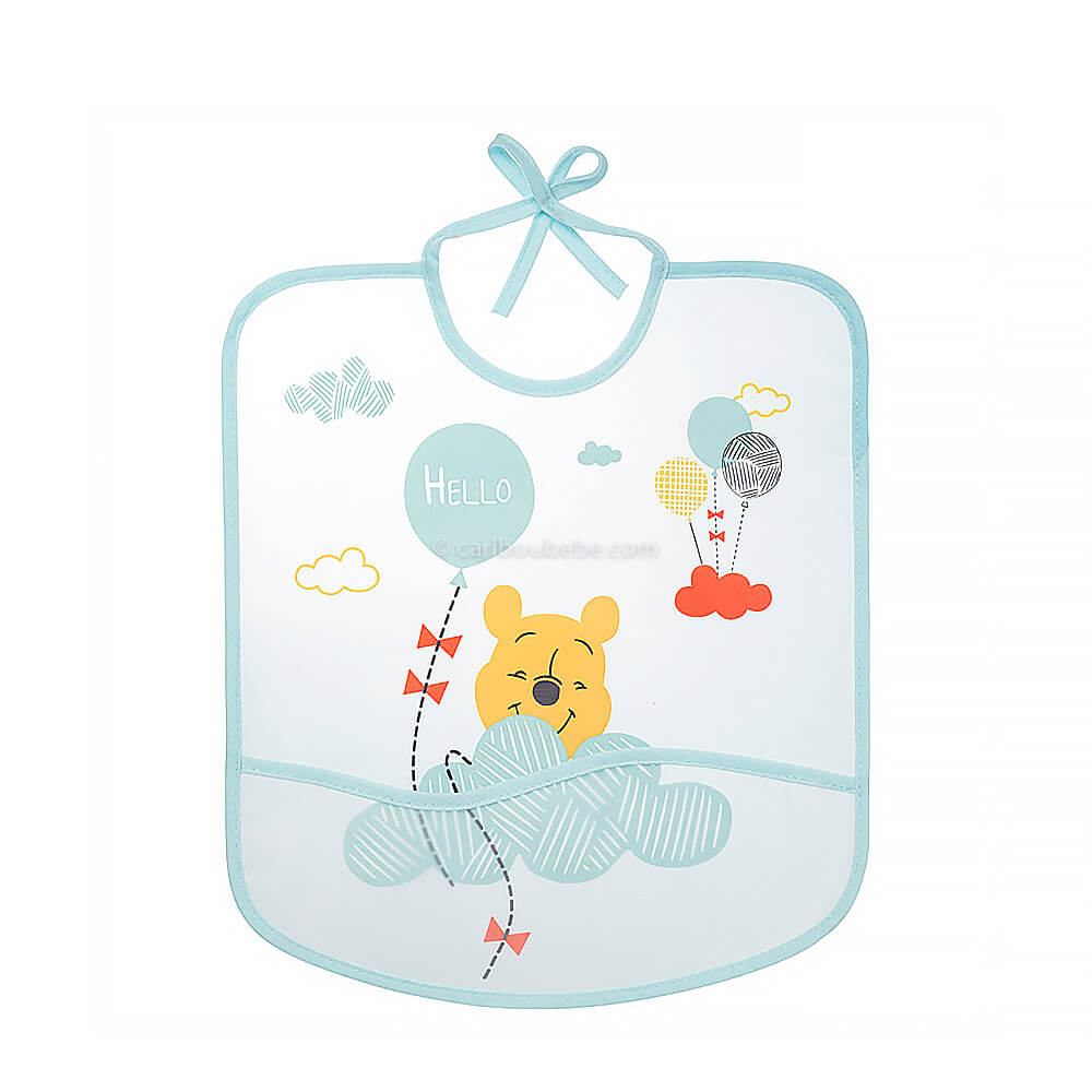 Bavoir imperméable Disney Winnie Hello Funshine avec poche 28x32cm 6M Baby Calin