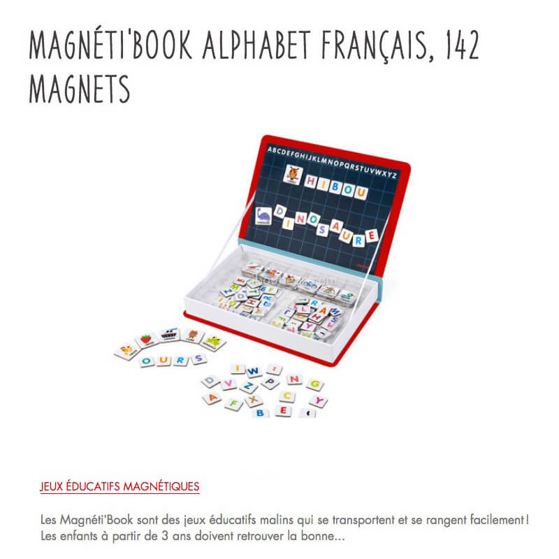 Magneti Book Alphabet Francais 142 Magnets 3-8A Janod